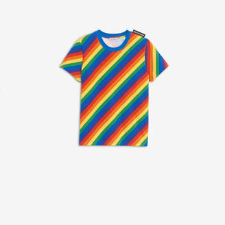 Balenciaga Rainbow Logo Tab Small Fit T-shirt in muticolor stripes stretch jersey