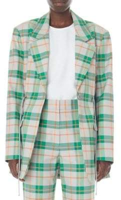 Tibi Hani Oversized Plaid Waist-String Blazer