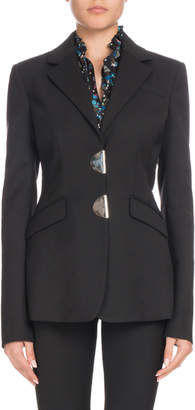 Altuzarra Tuttle Half-Moon Clasp Notched-Collar Fitted Wool Blazer
