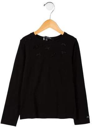 Il Gufo Girls' Embellished Long Sleeve Top