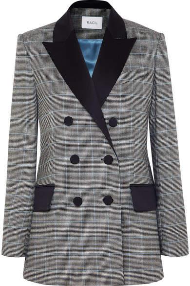 Racil - Audrey Satin-trimmed Houndstooth Wool Blazer - Black