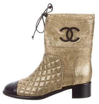 Chanel 2018 Metallic Quilted Ankle Boots w/ Tags