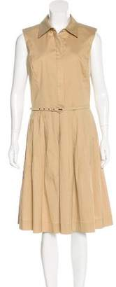 Oscar de la Renta Pleated Sleeveless Dress