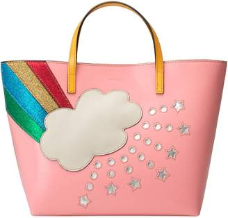 Gucci Children's leather tote with rainbow