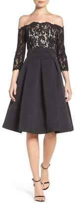 Eliza J Off the Shoulder Fit & Flare Cocktail Dress