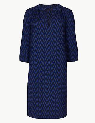 M&S Collection Printed 3/4 Sleeve Shift Dress