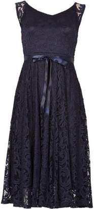 Dorothy Perkins Womens *Izabel London Navy Lace Midi Fit and Flare Dress