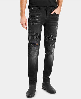 GUESS Men Black Moto Slim-Fit Jeans
