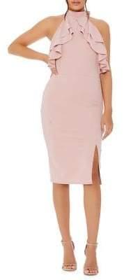 Quiz Dusky Frill Halterneck Midi Dress
