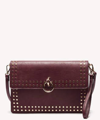 Sole Society Women's Plam Clutch Vegan Studded Oxblood Vegan Leather From