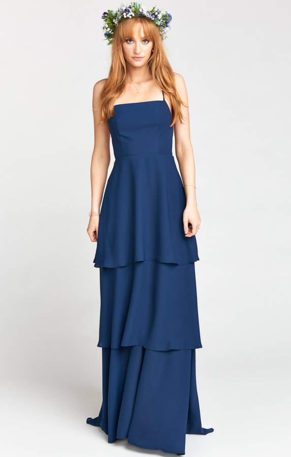 Show Me Your Mumu Calypso Ruffle Dress ~ Rich Navy Crisp