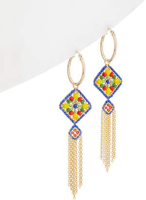Miguel Ases 18K Plated Beaded Tassel Hoops