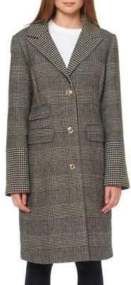 Ellen Tracy Plaid Notch-Collar Long Coat