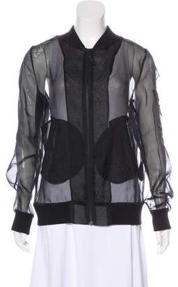 BLK DNM Silk & Leather-Accented Jacket