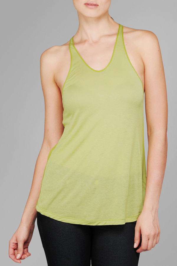 7 For All Mankind Sheer Knit Woven Tank In Dark Citron