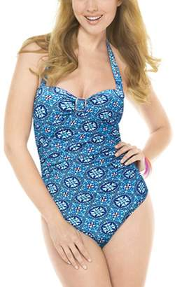 52cf83076f Spanx Assets by Halter Pin Up One Piece Swimsuit Power Suits Slimming 2053