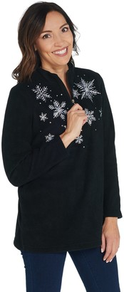 Factory Quacker Embroidered Half Zip Fleece Pullover