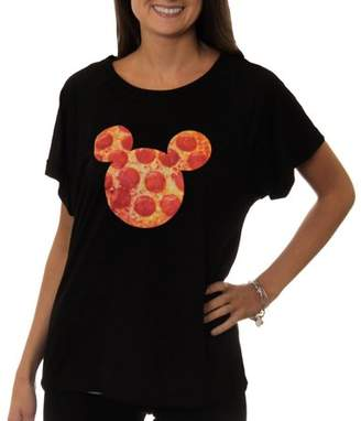 Disney Women's Mickey Mouse Pizza Sillohuette Graphic Hi-Low T-Shirt