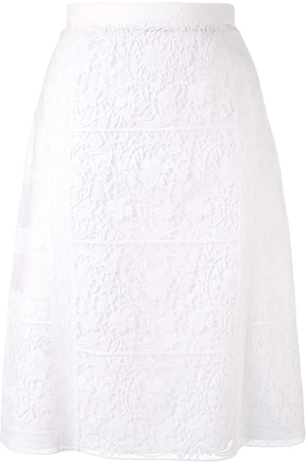 Burberry floral macrame straight skirt
