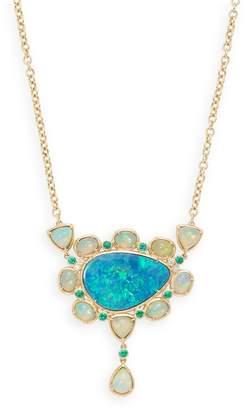 Rina Limor Fine Jewelry Women's Australian Ethiopian & Doublet Opal, Emerald and Diamond Bezel Set Necklace