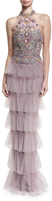 Marchesa Notte Jeweled Tulle Halter Gown $995 thestylecure.com