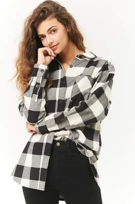 Forever 21 Buffalo Plaid Longline Flannel Shirt