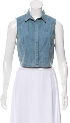 Alice + Olivia Chambray Crop Top