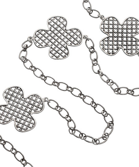 Jessica Elliot Silver Long Iron Clover 3-way Necklace