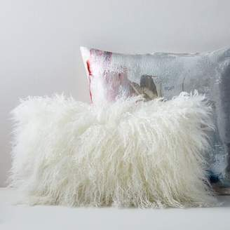 west elm Abstract Blossom + Mongolian Lamb Pillow Cover Set