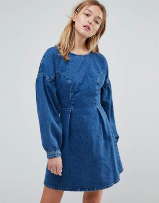 Asos DESIGN denim balloon sleeve dress in midwash blue