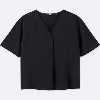 Uniqlo Women's Drape V-Neck Short-sleeve Blouse