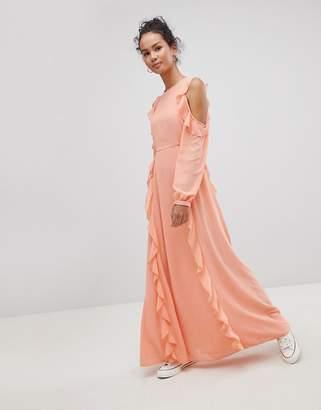 Glamorous Cold Shoulder Ruffle Maxi Dress