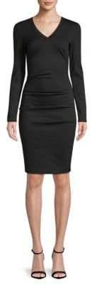 Nicole Miller V-Neck Tuck Knee-Length Dress