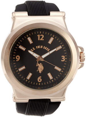 U.S. Polo Assn. USC90006 Rose Gold-Tone & Black Watch