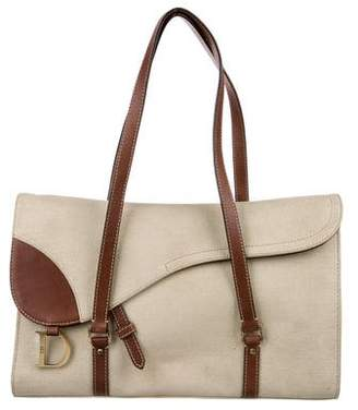 Christian Dior Canvas Saddle Flat Bag