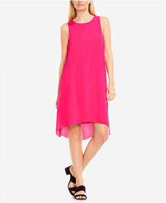 Vince Camuto High-Low Chiffon-Overlay Shift Dress $109 thestylecure.com