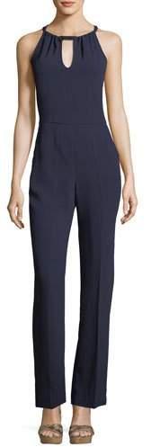 Trina Turk Sleeveless Straight-Leg Keyhole Crepe Jumpsuit