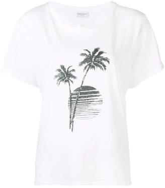 Saint Laurent palm tree sunset print T-shirt