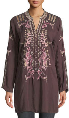 Johnny Was Clio Long-Sleeve Embroidered Tunic, Plus Size