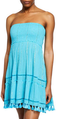 Ramy Brook Smocked-Bodice Strapless Dress
