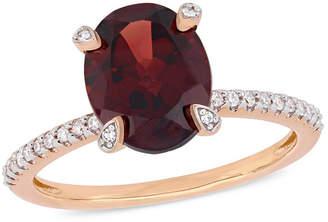 Macy's Garnet (3 ct.t.w.) and Diamond (1/10 ct.t.w.) Ring in 10k Rose Gold