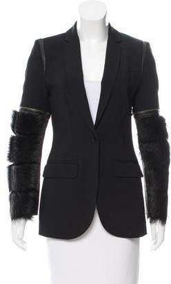 Yigal Azrouel Leather-Trimmed Wool-Blend Blazer