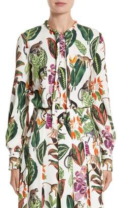 Oscar de la Renta Jungle Print Georgette Blouse