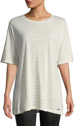Donna Karan Striped Linen-Blend Draped Tee