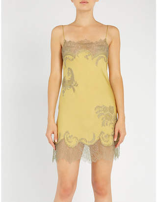Carine Gilson Floral-embroidered silk-crepe and lace slip dress