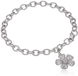 clear Sterling Silver Crystal Flower Charm Bracelet