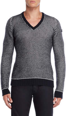 Armani Jeans Navy & White Slim Fit Pullover Sweater