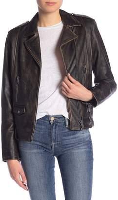 Frame Distressed Leather Jacket