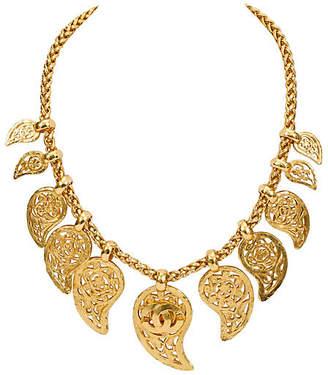 One Kings Lane Vintage Chanel Satin Gold Choker - Vintage Lux