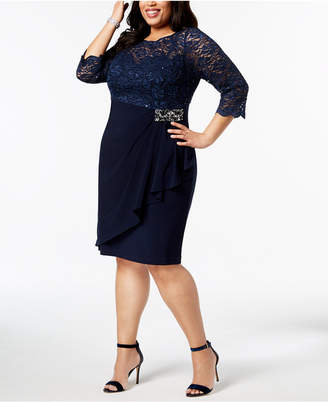 Alex Evenings Plus-Size Embellished Lace-Bodice Dress